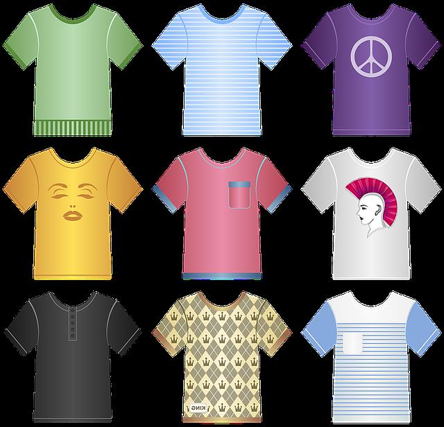 různá trička, barevná, potištěné, popsaná atd.