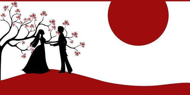 návrh svatebního oznámení – silueta novomanželů