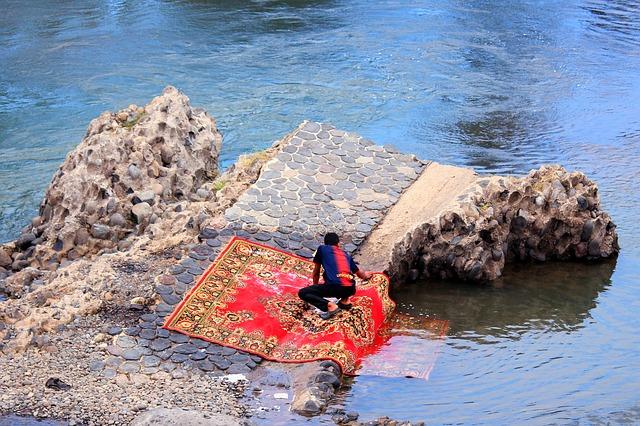 umývání koberce v řece